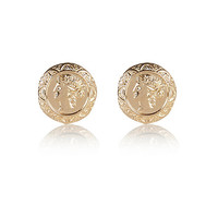 River Island Womens Gold tone oversized coin stud earrings