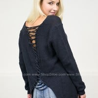 Stella Back Trip Lace Sweater