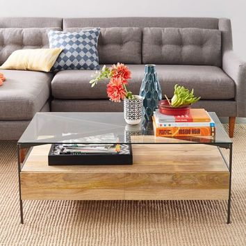 Glass-Topped Rustic Storage Coffee Table