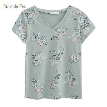 Flowers Print Women t shirts short sleeve tops tees 100% cotton v-neck women summer t shirt