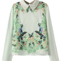 ROMWE Birds and Floral Print White Blouse