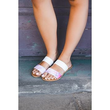 The Athena Sandals (Pink Tie Dye) FINAL SALE