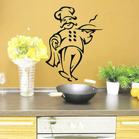 Wall Decals Chef Cook Waiter Cafe Vinyl Sticker Kitchen Decor O287