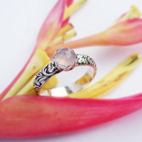 Pink Chalcedony Floral Ring, Wide band, silver gemstone ring, silver chalcedony, pink chalcedony, chalcedony ring, boho ring, wedding ring