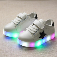 children shoes with light 2016 autumn baby boys girls shoes chaussure led enfant child fashion breathable boys sneakers EU21-30
