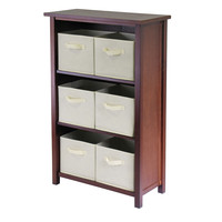 Verona 3- Section M Storage Shelf with 6 Foldable Beige Color Fabric Baskets
