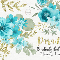 Paradise | Digital Clipart, wedding elements, flowers, floral graphics, floral art, floral clipart, turquoise,blue flowers,floral watercolor