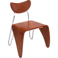 Bent Wood and Stainless Steel Accent Chair, Walnut