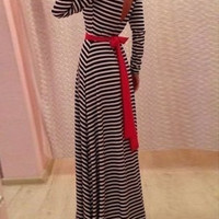 Striped V-Back Long Sleeve Maxi Dress with Belt