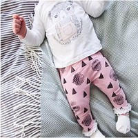 Girl's Clothing set cotton long-sleeved T-shirt + cartoon pants newborn baby Set of clothes girl suit