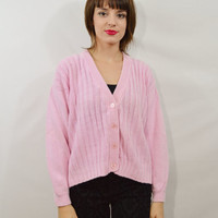 90s Pastel Cardigan Pink Jumper Sweater Kawaii Grunge Small Med Oversize Vintage Womens Clothing Pale