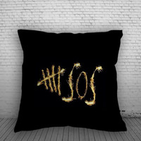 5 Second Of Summer Logo Fire Pillow, Pillow Case, Pillow Cover, 16 x 16 Inch One Side, 16 x 16 Inch Two Side, 18 x 18 Inch One Side, 18 x 18 Inch Two Side, 20 x 20 Inch One Side, 20 x 20 Inch Two Side
