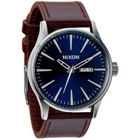 Nixon The Sentry Leather Watch Blue/Brown One Size For Men 22922244901