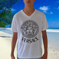 Versace Men Shirt  Medusa Inspired V Neck t shirt short sleeve Top Size S M L XL Graphic Tee Also available YSL Tshirt By CelebriTee