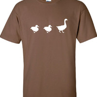 Duck Duck GOOSE duck deer buck goose hunting hunt geek cool Printed T-Shirt Tee Shirt Mens Ladies Womens dad Kids Funny mad labs ML-255