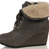 City Classified Women's Nast Faux Nubuck Leather Wedge Cuffed Faux Fux Ankle Boot