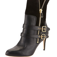 Clio Double-Buckled Ankle Boot, Black - Paul Andrew