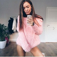 Women Sweaters And Pullovers 2017 Winter Casual Super-Soft Elastic Loose Jumper Womens Round Neck Long Sleeve Mohair Pull Femme