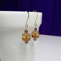 Amber Amethyst Gold Crystal Drop Earrings, Christmas Mom Sister Grandmother Girlfriend Bridesmaid Jewelry Gift, Simple, Pretty, Small