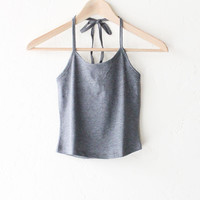 Halter Crop Top - Dark Heather Grey