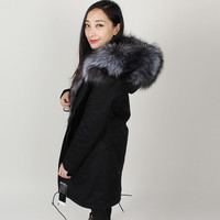 Winter Jacket Women 2016 Black long Parka Coats Real Large Raccoon Fur Collar Fox Fur Lining Hooded Outwear shipping Free DHL