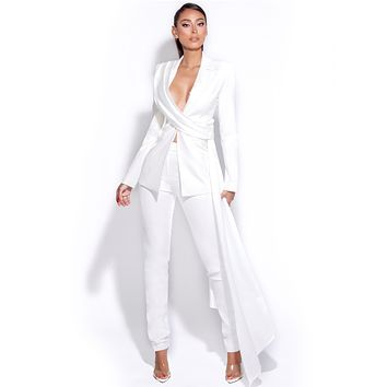 Vayla White Skinny Fit Crepe Trousers