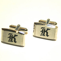 Letter K Cufflinks Vintage Silver Tone Rectangle with Old English Font Mid Century Mod Monogram
