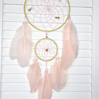 Blush and Gold Dream Catcher, Wall Hanging Dream Catcher,  Baby Girl Gold Nursery Decor, Pink Bedroom Wall  Decor, Gold Dreamcatcher