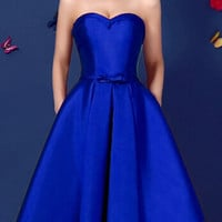 Blue Sweetheart Bowknot Waist Lacing Back Strapless Prom Skater Dress