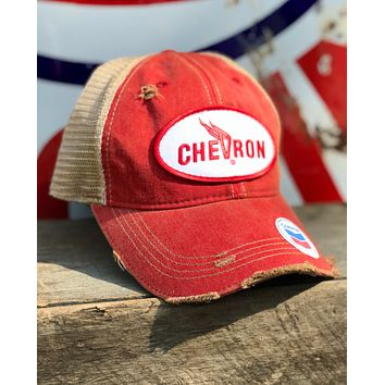 Chevron Gas/Oil Winged Logo Hat- Distressed Red Snapback