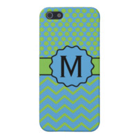 Polka Dot Chevron Blue and Green with Monogram iPhone 5/5S Case