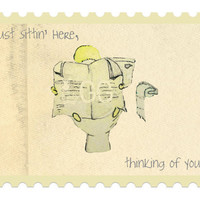 Thinking of you Card funny card monster card cute by innovativemom