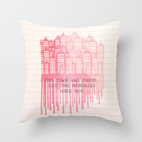 The Town Was Paper Throw Pillow by Anthony Londer | Society6