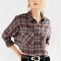 UO Cropped Flannel Button-Down Shirt