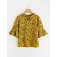 Calico Print Flute Sleeve Frill Blouse Yellow