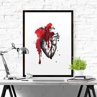 Anatomical Heart Human Heart Print Anatomically Accurate Watercolor Print Real Human Heart  Doctor Gift Surgeon Gift Printable Watercolor