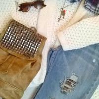 #Studded Brown #Leather #Backpack-#Purse-Camel-Drawstring-#Fall #boho