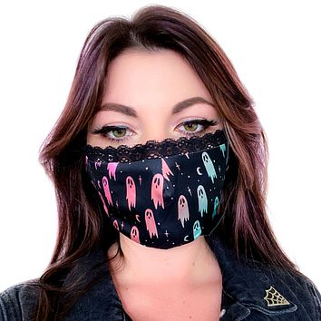Rainbow Ghost Silky Face Mask with Lace Trim