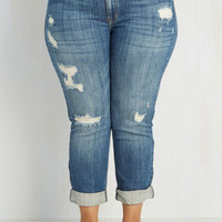 90s Long Cropped Genuinely Dressed Jeans in Mid Wash - 1X-3X