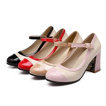 Women Pumps Mary Janes High Heels Shoes