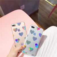 Love heart laser hard phone case For iphone 7 7plus hard plastic case for iphone 6 6s 6plus 8 8plus