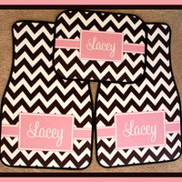 Monogrammed Gifts Car Accessories Monogrammed Car Mat Black Pink Accents Chevron Personalized Car Mats  Monogrammed Car Mats Front AND Back