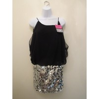 Black and silver sequined hot fitted dress
