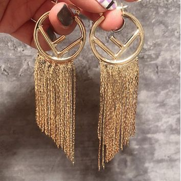 FENDI Newest Fashion Women Exaggerated Personality F Letter Tassel Pendant Earrings Accessories Jewelry Golden