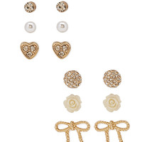 FOREVER 21 Rhinestone & Bow Stud Set Gold/Clear One