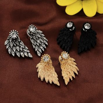 New Fashion Angel Wings Rhinestone Alloy Stud Earrings