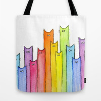 Rainbow of Cats Tote Bag by Olechka
