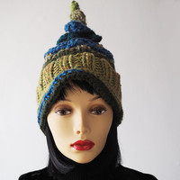 Ready to ship - Mustard & olive green hat - Crocheted elf hat - Fashion knit hat - Womans chunky knit hat - Warm winter hat - Teen girl hat