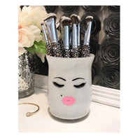 Makeup Brush Holder- SMALL- perfect pout lashes kiss print face