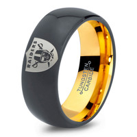 Oakland Raiders Ring Mens Fanatic NFL Sports Football Boys Girls Womens NFL Jewelry Fathers Day Gift Tungsten Carbide 077-Y